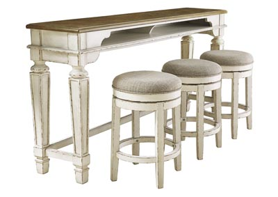 Realyn Chipped White Counter Table w/3 Bar Stool
