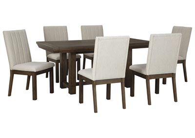 Dellbeck Brown Dining Table w/6 Side Chair