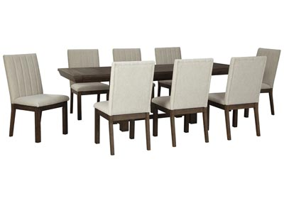 Dellbeck Brown Dining Table w/8 Side Chair