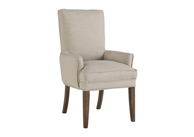 Grindleburg White/Light Brown Dining Upholstered Arm Chair (Set of 2)