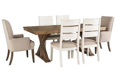 Grindleburg Light Brown Rectangular Dining Table w/4 White Side Chairs and 2 Beige Arm Chairs