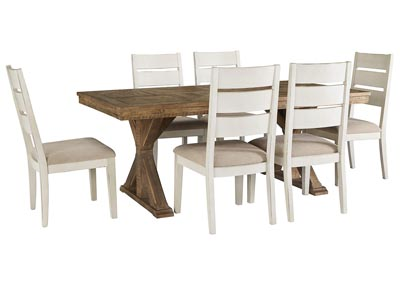 Grindleburg Light Brown Rectangular Dining Table w/6 White Side Chairs