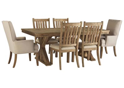 Grindleburg Light Brown Rectangular Dining Table w/4 Brown Side Chairs and 2 Beige Arm Chairs