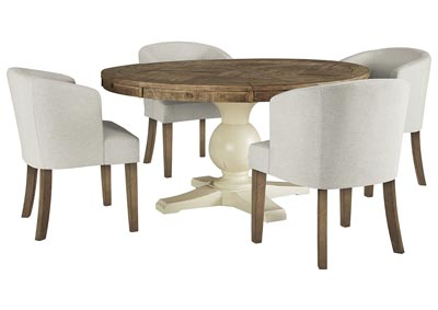 Grindleburg Round Dining Table w/4 Linen Side Chairs