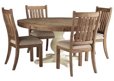 Grindleburg Round Dining Table w/4 Brown Side Chairs