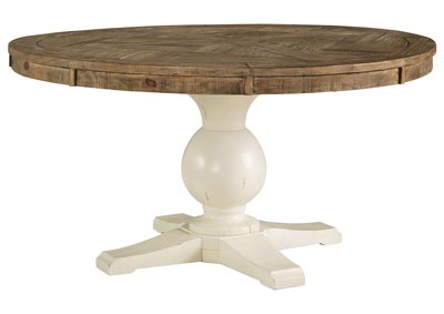 Grindleburg White/Light Brown Round Dining Room Table