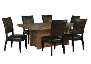 Sommerford Brown Rectangular Dining Room Table w/4 Upholstered Side Chairs