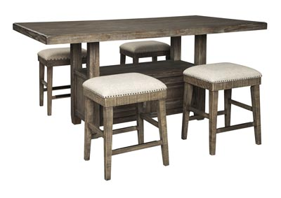 Wyndahl Brown Counter Dining Table w/4 Bar Stool