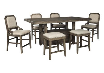 Wyndahl Brown Counter Dining Table w/4 Counter Chair & 2 Bar Stool