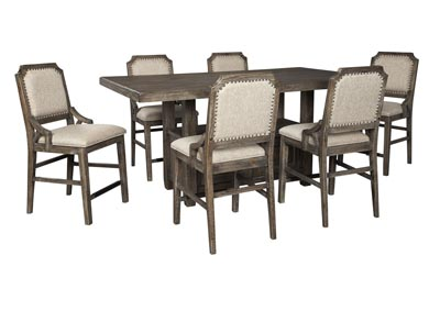 Image for Wyndahl Brown Counter Dining Table w/6 Counter Chair