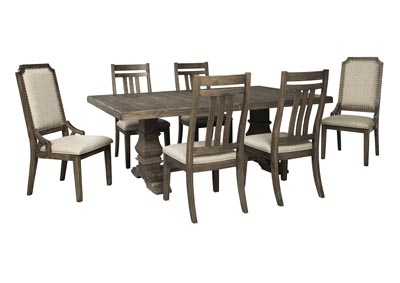 Wyndahl Brown Dining Table w/4 Side Chair & 2 Upholstered Chair