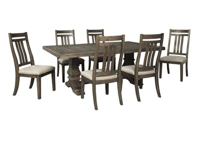 Wyndahl Brown Dining Table w/6 Side Chair