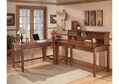 Cross Island L-Shape Desk w/Low Hutch