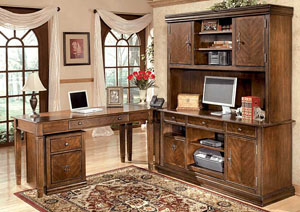 Hamlyn Large L-Shaped Desk w/Large Hutch & Credenza & File Cabinet