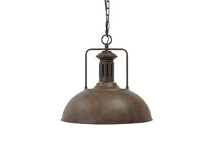 Antique Brown Metal Pendant Light