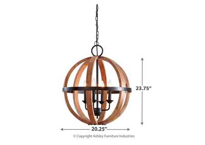 Emilano Black/Natural Wood Pendant Light,Signature Design By Ashley