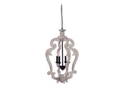 Image for Jocelin Distressed White Wood Pendant Light
