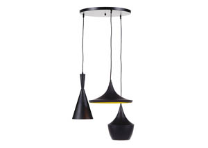 Jolanta Black/Gold Finish Metal Pendant Light
