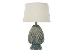 Teal Ceramic Table Lamp