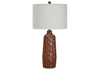 Mab Orange 2 Piece Ceramic Table Lamp Set