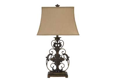 Image for Gold Finish Metal Table Lamp