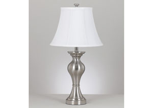 Rishona Brushed Silver Table Lamp (Set of 2)