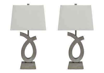 Image for Amayeta Silver Finish Poly Table Lamp (Set of 2)