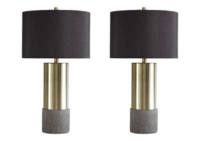 Jacek Gray/Brass Finish Metal Table Lamp