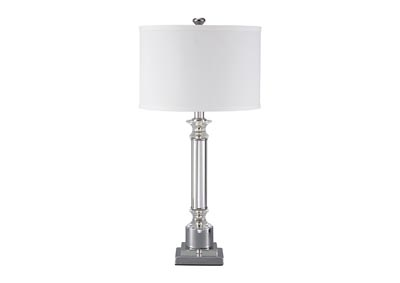Marlon Clear/Silver Finish Metal Table Lamp
