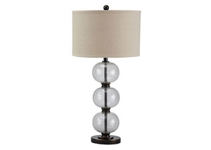 Maleko Clear/Bronze Finish Glass Table Lamp