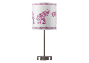 Nessie Pink/Silver Finish Metal Table Lamp