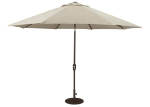 Beige/Dark Brown Large Auto Tilt Umbrella