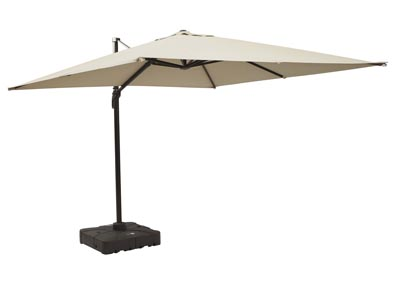 Devra Bay Beige Large Cantilever Umbrella and Base