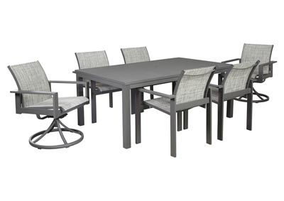 Okada Gray Dining Table w/4 Arm Chair, 2 Swivel Chair and Umbrella Option