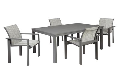 Okada Gray Dining Table w/4 Arm Chair and Umbrella Option
