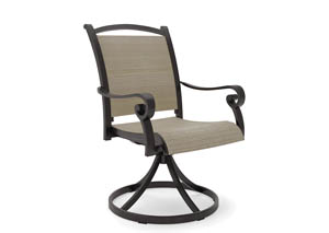 Bass Lake Beige/Brown Sling Swivel Chair (2/CN)