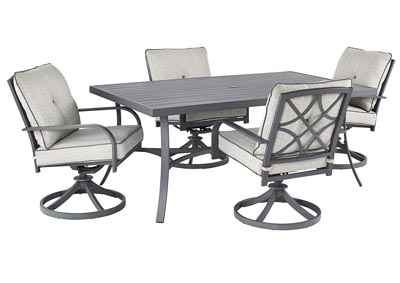 Donnalee Bay Gray Dining Table w/4 Swivel Chairs