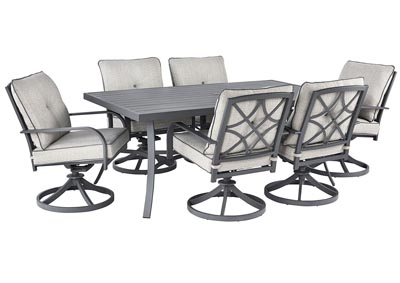 Donnalee Bay Gray Dining Table w/6 Swivel Chairs