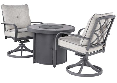 Donnalee Bay Gray Fire Pit Table w/2 Swivel Chairs