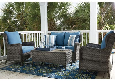 Abbots Court Blue/Gray 4 Piece Outdoor Set