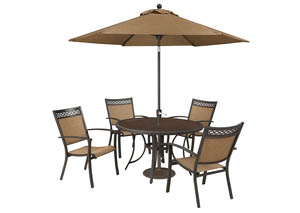 Carmadelia Tan/Brown Round Dining Table w/4 Sling Chairs & Umbrella