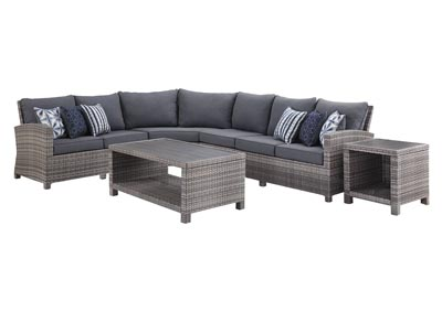 Salem Beach Gray 4 Piece Sectional w/End and Coffee Table
