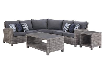 Salem Beach Gray 3 Piece Sectional w/End and Coffee Table