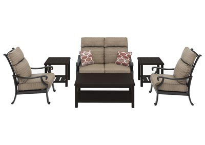 Chestnut Ridge Rectangular Cocktail Table w/2 End Table, Loveseat & 2 Lounge Chair Cushion