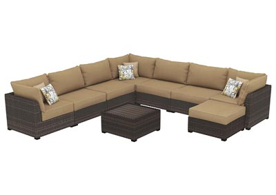 Spring Ridge Beige/Brown Sectional w/Ottoman & Table