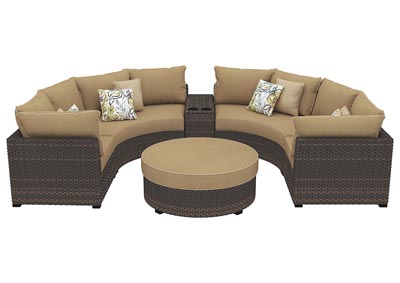 Spring Ridge Beige/Brown Sectional w/Console & Ottoman