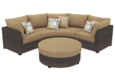 Spring Ridge Beige/Brown Sectional w/Ottoman