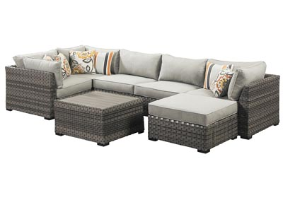 Spring Dew Gray Square Coffee Table w/Sectional & Ottoman