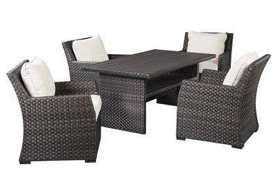 Image for Easy Isle Dark Brown/Beige Table w/4 Lounge Chair