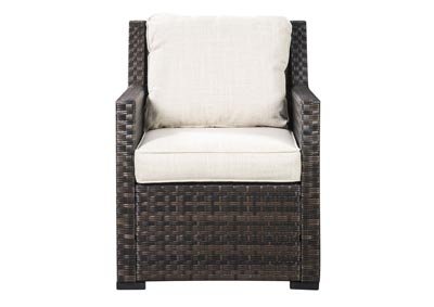 Easy Isle Dark Brown/Beige Lounge Chair w/Cushion